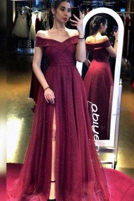 Off The Shoulder Tulle Burgundy Sequins Ruffles Split Prom Dresses