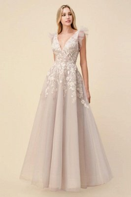 Tulle Backless V Neck Lace Appliques Prom Dresses Long