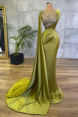 Vintage Sleeveless Sage Ruffles Long Mermaid Prom Dresses With Crystal