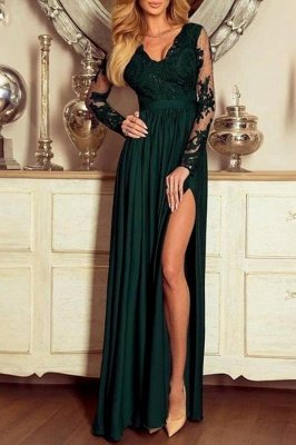 Graceful Long Sleeves Ruffles Green V Neck Lace Split Prom Dresses