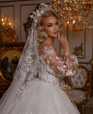 Luxury Sweetheart Tulle Sequins Ruffles Ball Gown Wedding Dresses With Long Sleeves_4