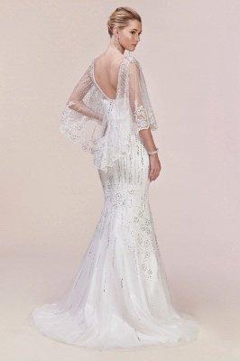 Luxury Tulle Sleeveless Lace Crystal Silver Mermaid Prom Dresses_5