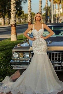 Spaghetti Straps Lace Appliques Organza Mermaid Wedding Dresses