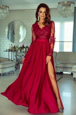 Long Sleeves Ruby V Neck Lace Appliques Split Prom Dresses