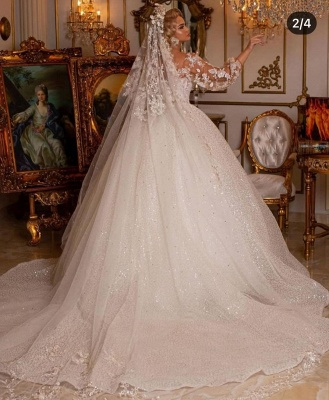 Luxury Sweetheart Tulle Sequins Ruffles Ball Gown Wedding Dresses With Long Sleeves_2