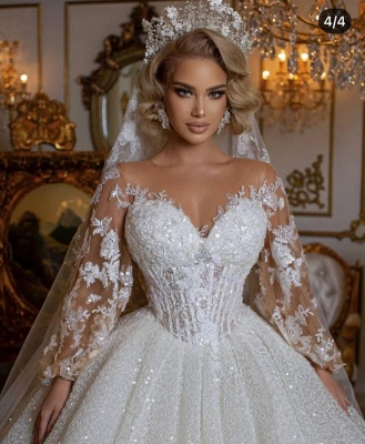 Luxury Sweetheart Tulle Sequins Ruffles Ball Gown Wedding Dresses With Long Sleeves_3