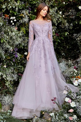 Graceful Long Sleeves Tulle Light Purple Lace Appliques Prom Dresses