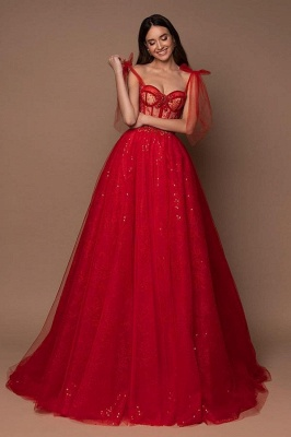 Sleeveless Tulle Ruby Lace Sequins A-Line Zipper Prom Dresses