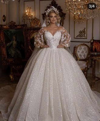 Luxury Sweetheart Tulle Sequins Ruffles Ball Gown Wedding Dresses With Long Sleeves_5