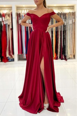 Off The Shoulder Ruby Front-Split Ruffles Evening Dresses