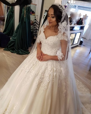 Modest Long Princess Off the Shoulder Wedding Dress with lace_6