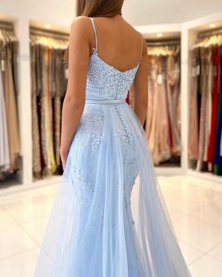 Graceful Spaghetti Straps Appliques Sky Blue Mermaid Prom Dresses_2
