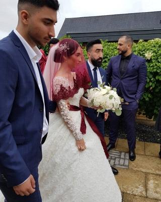 Long Luxury Princess Long Sleeves Jewel Lace Wedding Dress_8