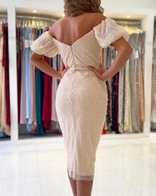 Off The Shoulder Ivory Sequins Ruffles Mermaid Prom Dresses Short_2