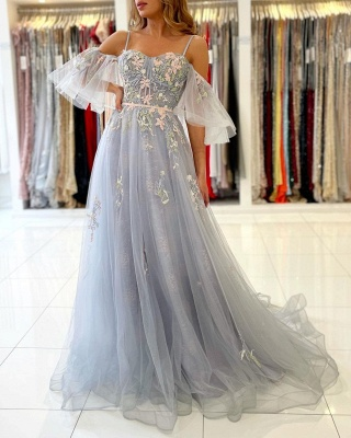 Princess Sleeveless Tulle Mist Blue A-Line Prom Dresses With Lace Appliques_2
