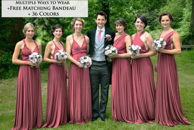 Sweetheart Satin Dark Pink Ruffles A-Line Bridesmaid Dresses_2