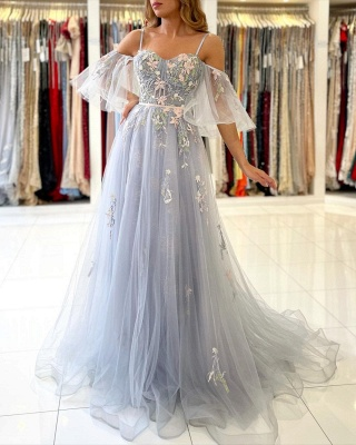 Princess Sleeveless Tulle Mist Blue A-Line Prom Dresses With Lace Appliques_4