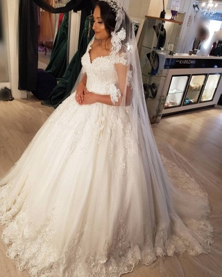 Modest Long Princess Off the Shoulder Wedding Dress with lace_3