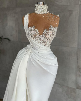 White Sleeveless Satin Beading Ruffles Mermaid Prom Dresses_2