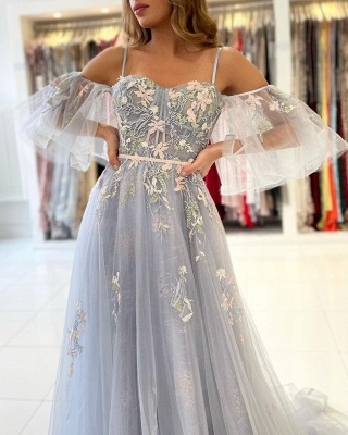 Princess Sleeveless Tulle Mist Blue A-Line Prom Dresses With Lace Appliques_5