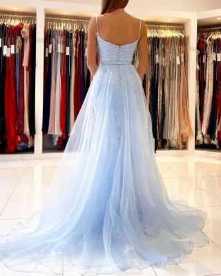 Graceful Spaghetti Straps Appliques Sky Blue Mermaid Prom Dresses_3