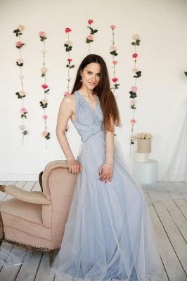 Elegant Tulle Sleeveless Mist Blue Ruffles A-Line Bridesmaid Dresses_2