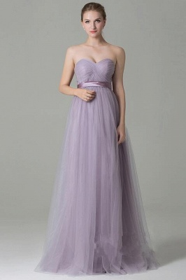 Clamourous Tulle Purple Sleeveless Ruffles A-Line Bridesmaid Dresses_2