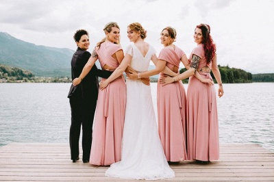 Chiffon Satin Ruffles A-Line Zipper Bridesmaid Dresses_2