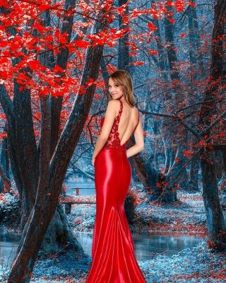 Ruby Sleeveless V Neck Lace Backless Mermaid Prom Dresses_2