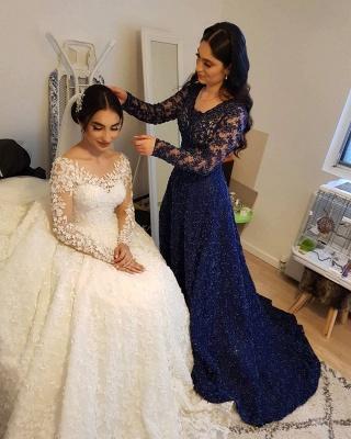 Long Luxury Princess Long Sleeves Jewel Lace Wedding Dress_11