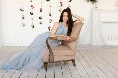 Elegant Tulle Sleeveless Mist Blue Ruffles A-Line Bridesmaid Dresses_3