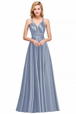 Sleeveless V Neck Satin Ruffles A-Line Bridesmaid Dresses_3