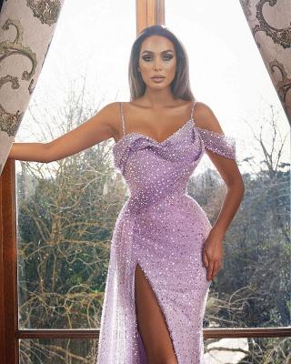 Vintage Sleeveless Orchid Sequins Front-Split Mermaid Prom Dresses_2