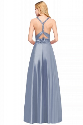 Sleeveless V Neck Satin Ruffles A-Line Bridesmaid Dresses_11
