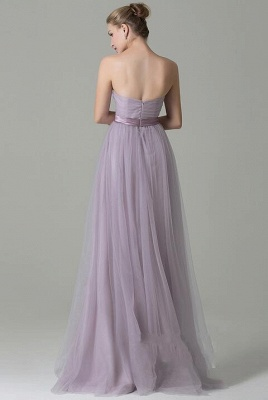 Clamourous Tulle Purple Sleeveless Ruffles A-Line Bridesmaid Dresses_3
