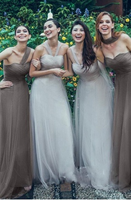 Charming Tulle Sweetheart Ruffles A-Line Bridesmaid Dresses_5