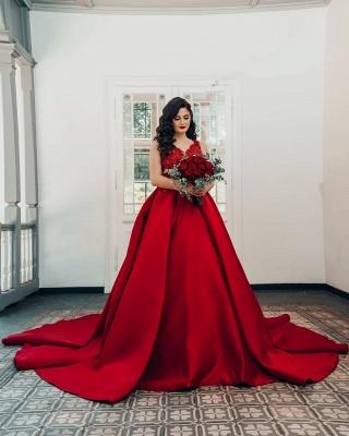 Modest Long Princess Satin Lace Wedding Dress_2