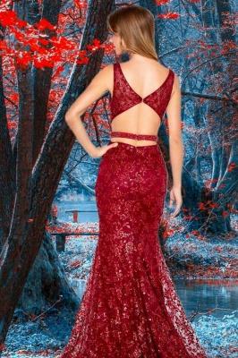 Vintage Sleeveless Ruby Appliques V Neck Mermaid Prom Dresses_2