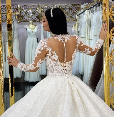 Princess Long Sleeves White Lace Appliques Ruffles Ball Gown Wedding Dresses_4