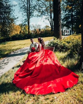 Modest Long Princess Satin Lace Wedding Dress_5