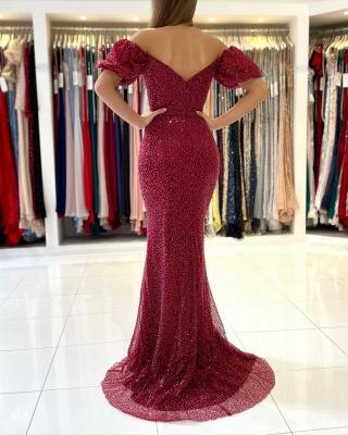 Off The Shoulder Sequins Red Front-Split Mermaid Prom Dresses_2