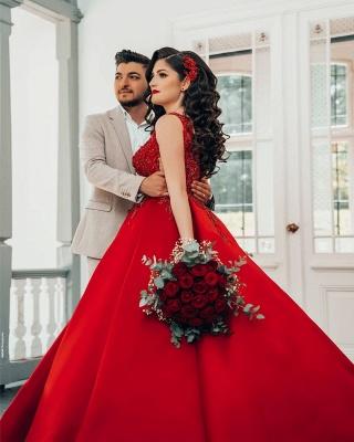 Modest Long Princess Satin Lace Wedding Dress_4