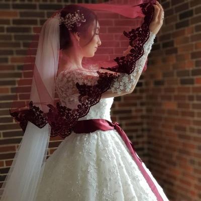 Long Luxury Princess Long Sleeves Jewel Lace Wedding Dress_4