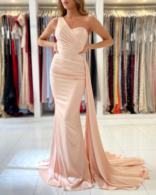 Elegant One Shoulder Nude Pink Zipper Mermaid Prom Dresses_2