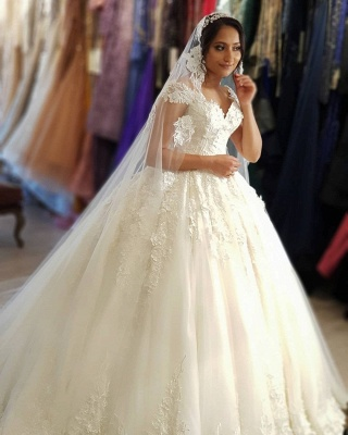 Modest Long Princess Off the Shoulder Wedding Dress with lace_2