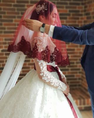 Long Luxury Princess Long Sleeves Jewel Lace Wedding Dress_5