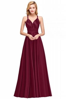 Sleeveless V Neck Satin Ruffles A-Line Bridesmaid Dresses_1