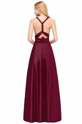 Sleeveless V Neck Satin Ruffles A-Line Bridesmaid Dresses_9
