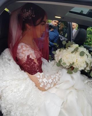 Long Luxury Princess Long Sleeves Jewel Lace Wedding Dress_9