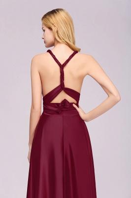 Sleeveless V Neck Satin Ruffles A-Line Bridesmaid Dresses_13